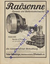 OFFENBACH, Werbung 1934, Peter Schlesinger Metallwaren-Fabrik Radsonne Dynamo