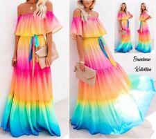 NEU GR. 40 L Maxikleid mit Bindegürtel Farbverlauf Regenbogen schulterfrei Kleid