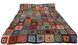 Vintage granny square afghan multicolor throw blanket hand crocheted 42 x 79
