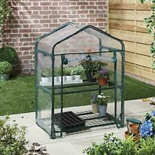2 Tier Mini Greenhouse PVC Plastic Outdoor Garden Steel Frame Plant Grow House