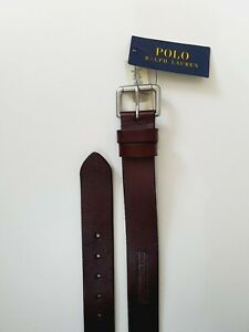 """Polo Ralph Lauren Mens Brown Leather Patch Logo Rolling Buckle Belt 90/36"""""""