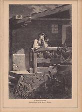 Alter Holzstich 1877:In stiller Sternennacht-Originalzeichnung von W.Marc