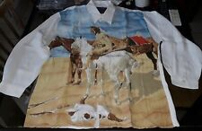 JOHNNY HALLYDAY TRES RARE CHEMISE INDIENNE VINTAGE 100% VISCOSE TAILLE M