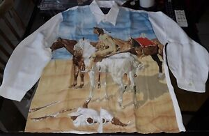 JOHNNY HALLYDAY CHEMISE INDIENNE VINTAGE 100% VISCOSE TAILLE M WESTERN PASSION