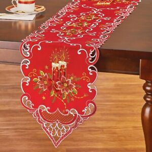 Exquisitely Designed Embroidered Christmas Candles Polyester Table Runner