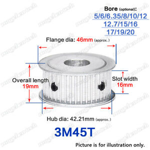 3M45T Timing Pulley Idler without Bearing 3mm Pitch 6.35-20mm Bore for 15mm Belt