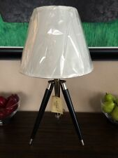 NWT RALPH LAUREN ADJUSTABLE BLACK & SILVER TRIPOD TABLE LAMP SIGNED RARE!
