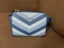 Michael Kors Selma Blue Chevron Messenger Bag-Sky- EUC