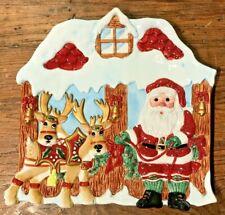 Fitz & Floyd Essentials Deer Santa Canape Serv Plate Orig Box Some Bottm Crazing