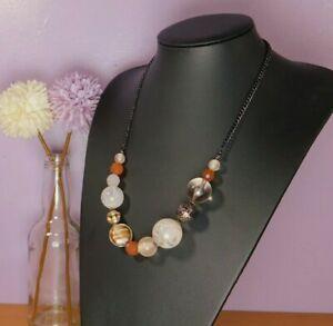 Womens Necklace mixed beads natural tones orange cream glitzy costume Jewellery