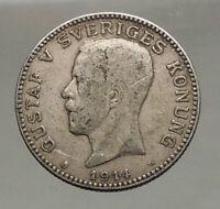 1914 Sweden GUSTAF V Silver Krona Crowned ARMS Antique Vintage Coin i56642