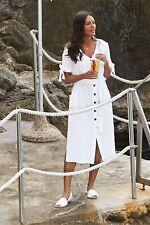 Next Tie Arm Sleeve Off White Ecru Midi Button Down Dress size 8 Beach Holiday