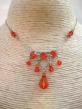 Vibrant Edwardian/Deco Orange Open Backed Crystal Drop Necklace