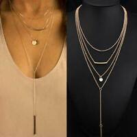 Women's Choker Chunky Statement Bib Pendant Chain Charm Necklace Jewelry #K