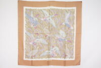 "HERMES Carre 90 Large Format Scarf Silk 100% ""COLS VERTS"" Shawl Brown 3598k"