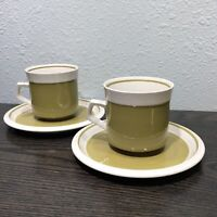 Vintage Mikasa Light & Lively 2 Calico Green Coffee Cups & Saucers D5450  70's