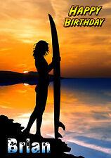 Surf Surf Surfista Paisaje Sol tarjeta de arte de felicitación personalizada Feliz Cumpleaños