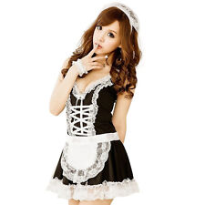 French Maid Fancy Dress Costume Womens Outfit Plus Size Sexy Waitress Hen rocky