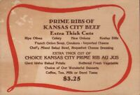 VINTAGE PRIME RIBS OF KANSAS CITY BEEF Menu Card KANSAS CITY