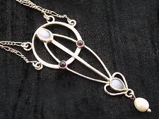 Sterling Silver Necklace art nouveau design by Joanna Thomson  Moonstones