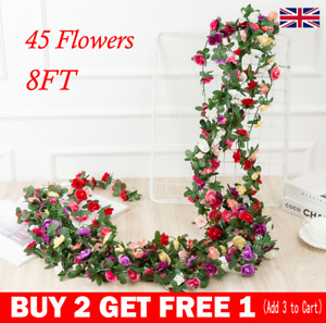 45 Flowers 8Ft Artificial Silk Rose Flower Hanging Garland Garden Wedding Decor