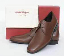 NIB Salvatore Ferragamo Fortunato 2 Brown Pebbled Calf Leather Derby Shoes 11 D
