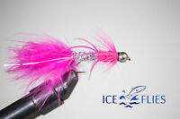 ICE FLIES. Streamer fly, animal bitter, rubber legs, Pink, size 2 - 10 (3-pack)