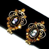 VTG Juliana D&E Glass Cameo Topaz Rhinestone Earrings Delizza Elster Verified