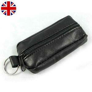 Unisex Black Leather Soft Zipper Wallet Coin Pouch Purse Key Ring UK Stock