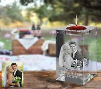 Personalised Glass Tea Light Candle Holder Laser Engraved Custom Memorial Gift