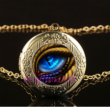 Dragon Eye Photo Cabochon Glass Gold Plating Locket Pendant Necklace