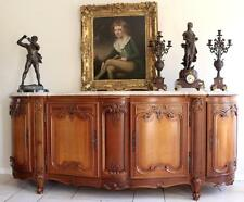 Antique Vintage French Louis XV Sideboard Buffet  Walnut, Marble Top, Stunning