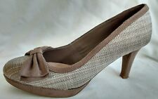 Women's Ladies Shoes Size 4/37 Used M&S Light Brown Stiletto Court Suede Woven