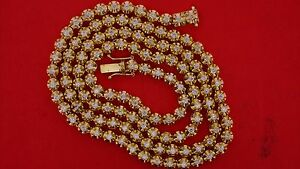 12 Carat Real Diamond Tennis Necklace Chain 10k Yellow Gold 70 Grams Best Price