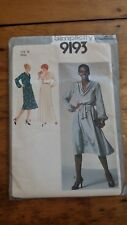 VINTAGE SIMPLICITY LADIES COWL NECK DRESS PATTERN 9193 SIZE 12 FREE SHIPPING
