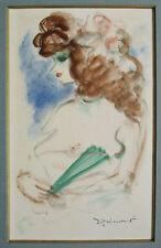 Femme à l'éventail Aquarelle de André DIGNIMONT vers 1940