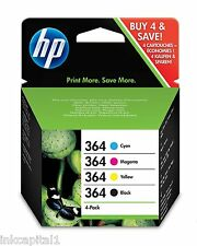 No 364 Set of 4 Original OEM Inkjet Cartridges For HP Photosmart B109a