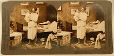 MAN HOLDING BABY NIGHTGOWN BEDROOM KELLEY & CHADWICK STEREOVIEW