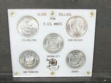 Morgan Silver Dollars 5 Us Mints Mint State Gem Bu Coins Carson City P S D Q1L32