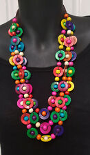 Bright Rainbow colours - 3 strand necklace Shell & wooden beads multi layer