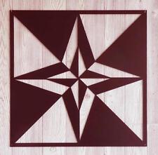 "Day & Nite Star - Barn Quilt - Dark Red Metal 12"" x 12"" Quilt Block Sign"