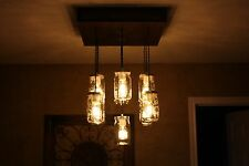 "The ""Square"" Mason Jar Chandelier with Wooden Canopy"