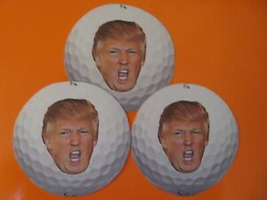 DONALD TRUMP - GOLF BALL FACE, PRESIDENTIAL 2021, STICKERS - LOT OF THREE (3)