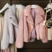 Real Mink Fur Lapel Short Jacket Winter Womens Warm Coat Thicken Parkas Chic New