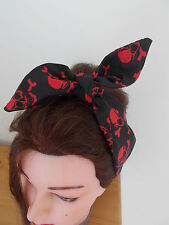 HEAD SCARF HAIR BAND BANDANNA SKULL BLACK RED  ROCKABILLY HALLOWEEN PIRATE NEW