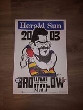 WEG POSTER ADELAIDE CROWS 2003 BROWNLOW POSTER MARK RICCIUTO LIMITED EDITION