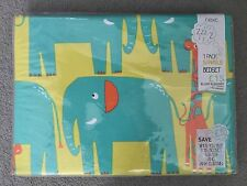 NEXT - ELLIOT ELEPHANT SINGLE BEDSET IN GREENS & BLUES WITH SOME GIRAFFES - BNWT