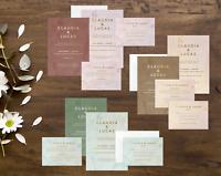 Personalised Rose Gold Wedding Invitation Set | Day/Evening Invite, RSVP & Info
