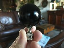 "LAMP FINIAL TOPPER  HUGE 2 3/8 "" TALL 1.5"" ROUND POLISHED BLACK OBSIDIAN VINTAGE"