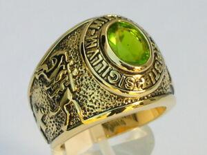 Knights Templar Masonic Mason 9x7 mm 1.80 Ct August Peridot Men's Ring Size 7-15
